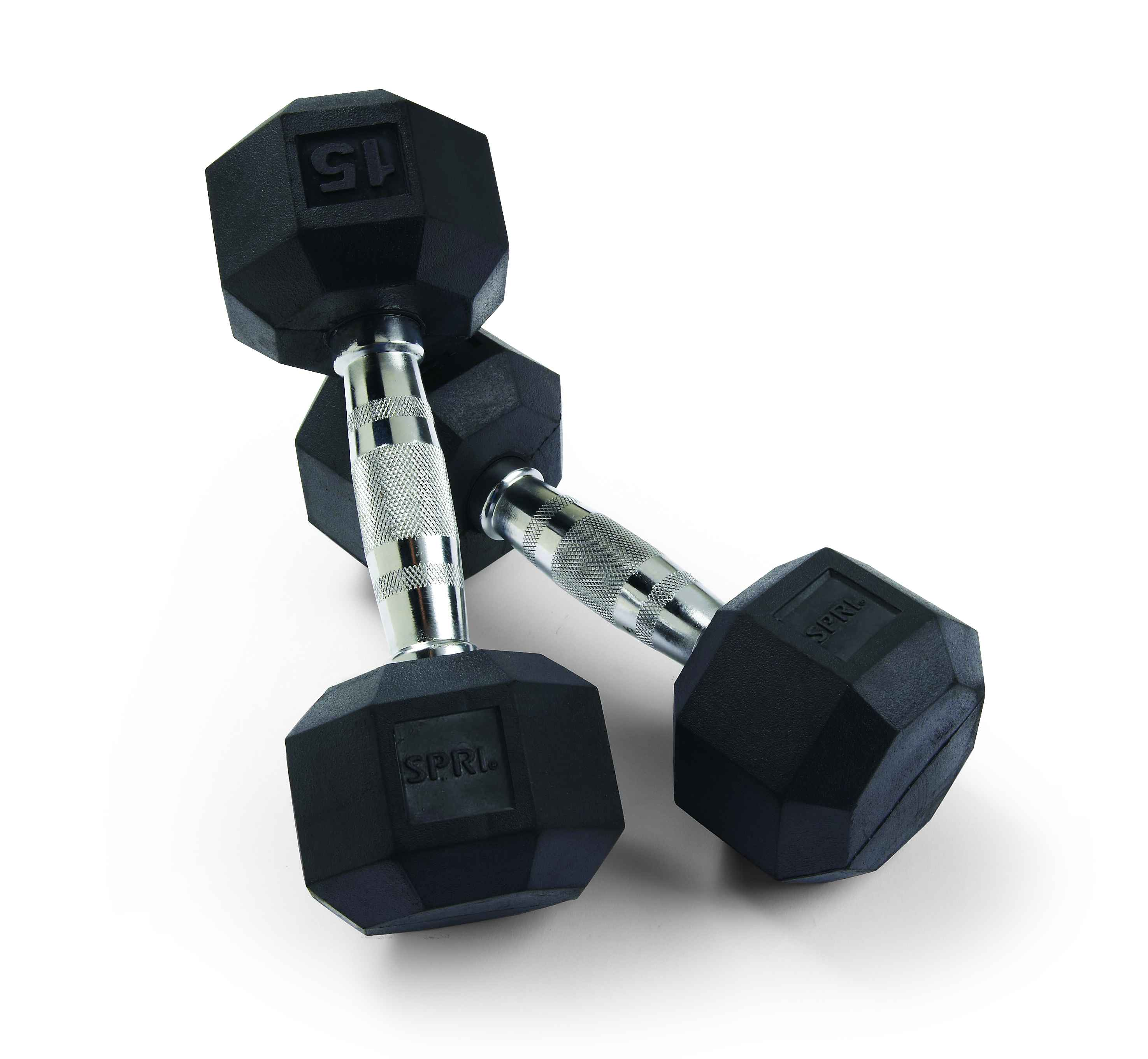SPRI 15 Lb. Pair Deluxe Rubber Hex Shape Dumbbells
